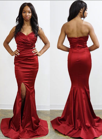 Burgundy sweetheart neck long prom dress, evening dress