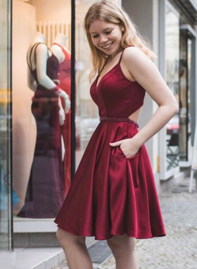 Burgundy short prom dress homecoming dress