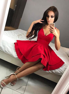 Cute red v neck short prom dress, red homecoming dress