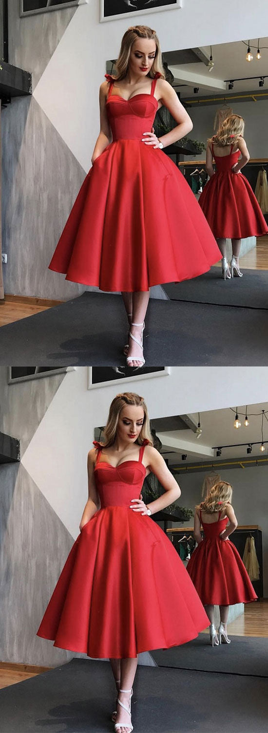 Red sweetheart neck short prom dress, red homecoming dress