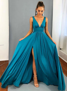 Blue v neck long prom dress, simple blue evening dress