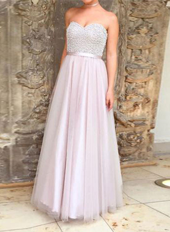 A line sweetheart neck tulle long prom dress, tulle evening dress