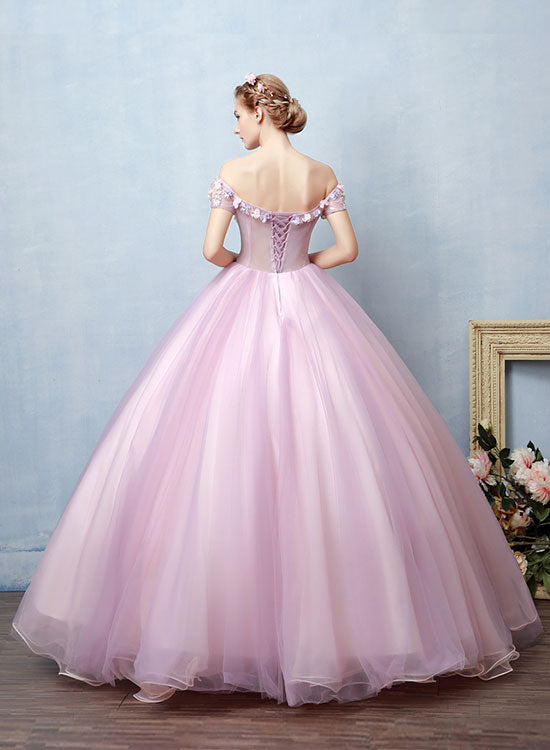 Pink tulle lace long prom dress, sweet 16 dress