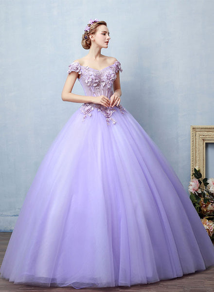 Light purple tulle lace long prom dress, sweet 16 dress ...
