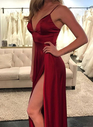 Sexy burgundy v neck long prom dress, burgundy evening dress
