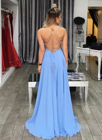 Simple A line blue v neck long prom dress, formal dress