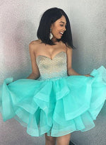 A line green tulle mini prom dress, homecoming dress
