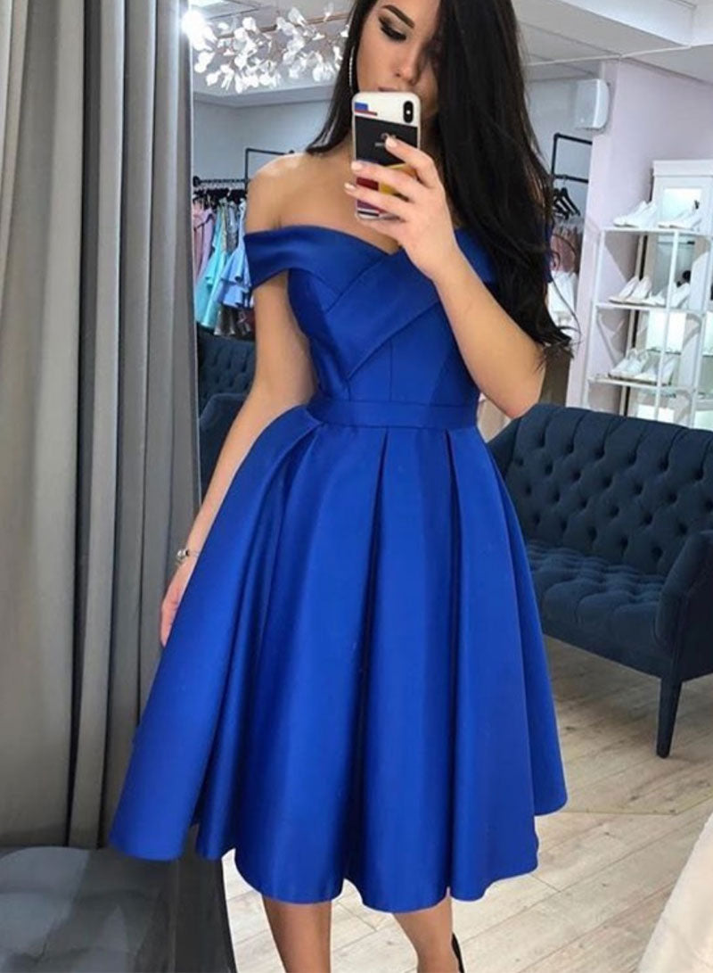 Simple blue satin short prom dress, homecoming dress
