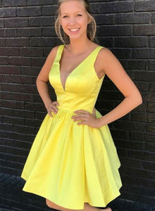 Yellow v neck short prom dress, homecoming dress