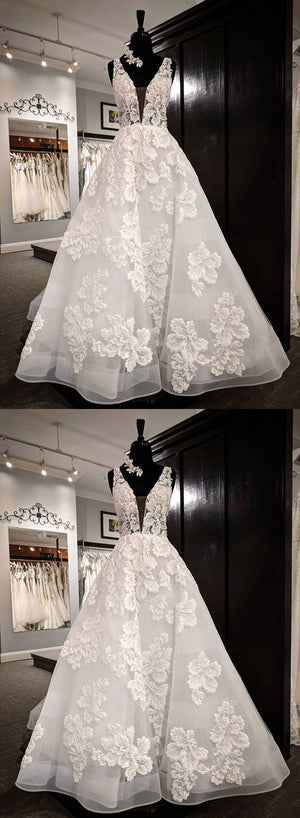 White v neck tulle appliqué long prom dress, evening dress