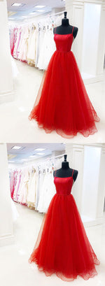 Custom made red tulle long prom dress, red evening dress