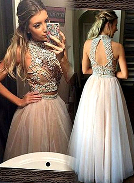 Champagne two pieces sequin tulle long prom dress, formal dresses