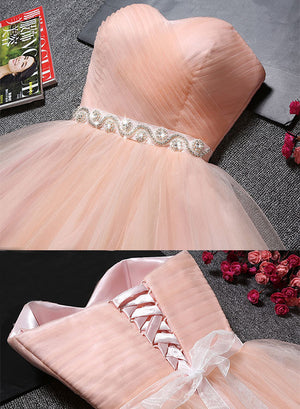 Cute pink sweetheart tulle short prom dress, homecoming dress