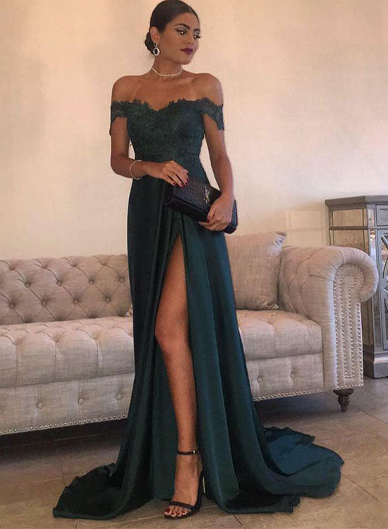 Green A line lace off shoulder long prom
