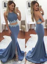 Stylish blue two pieces lace long prom dress,blue evening dresses