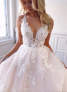 Custom made v neck tulle lace long prom dress, wedding dress