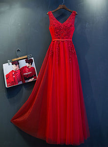 Red v neck lace tulle long prom dresss, lace evening dress