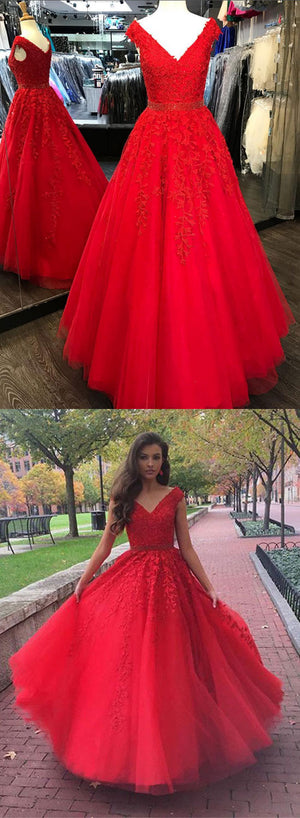Red v neck lace tulle long prom dress, lace evening dress