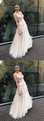 Stylish v neck tulle long prom dress, evening dress