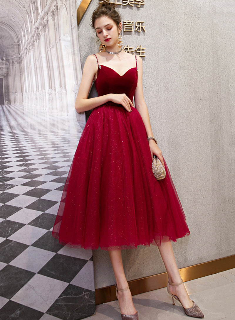 Burgundy velvet tulle short prom dress party dress