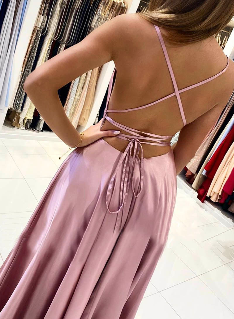 Pink satin prom dress simple evening dress