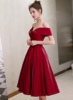 Burgundy satin short prom dress homecoming dress
