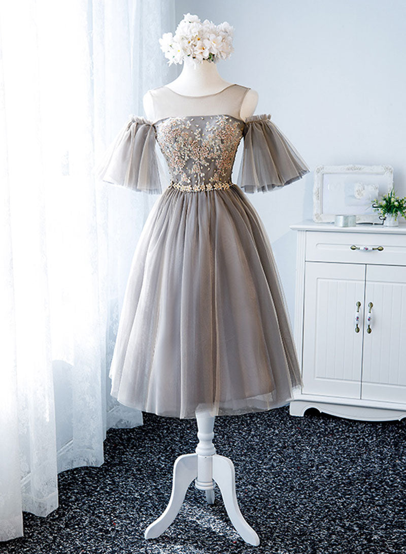 Stylish round neck lace short prom dress, hoco dress