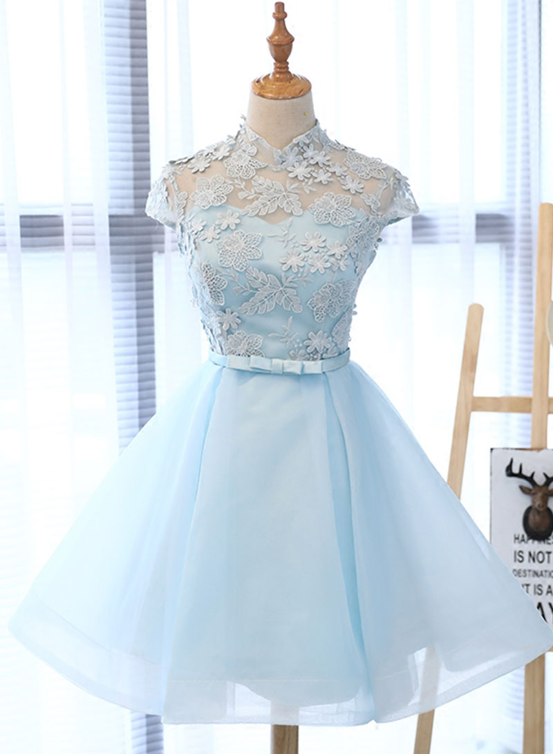Light blue tulle lace short prom dress, homecoming dress