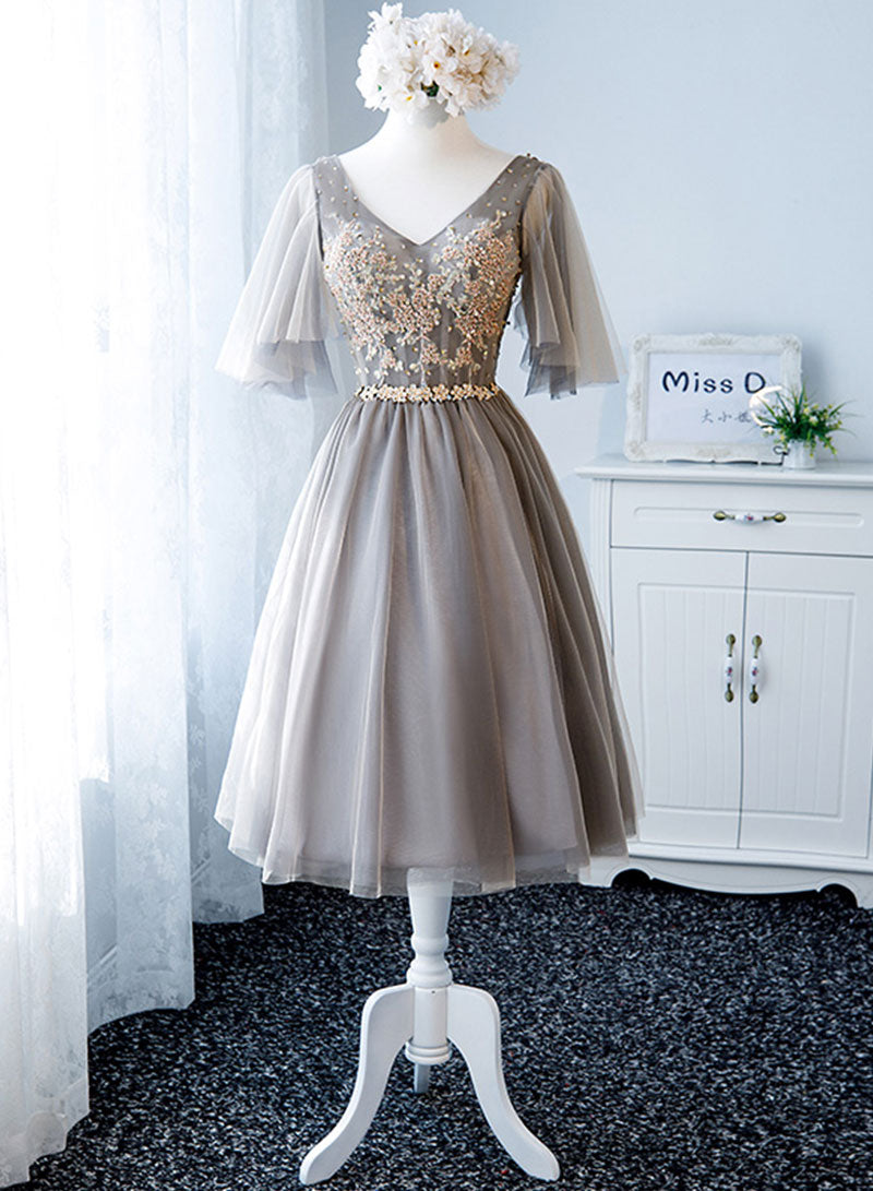 Stylish v neck tulle lace short prom dress, homecoming dress