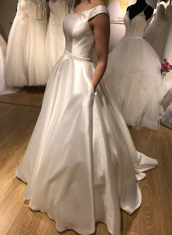 White round neck satin long prom dress, wedding dress