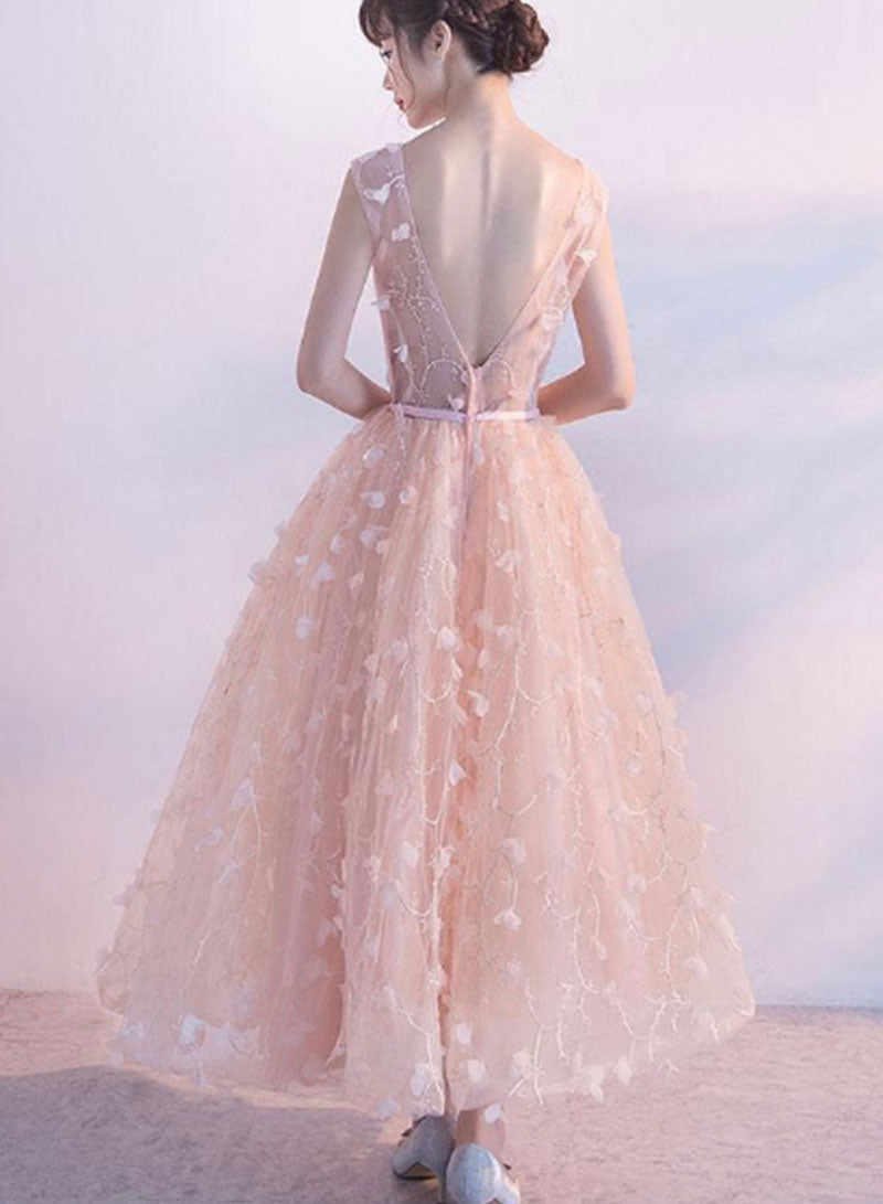 Pink v neck tulle short prom dress, homecoming dress