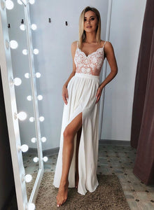 White v neck lace long prom dress, white evening dress
