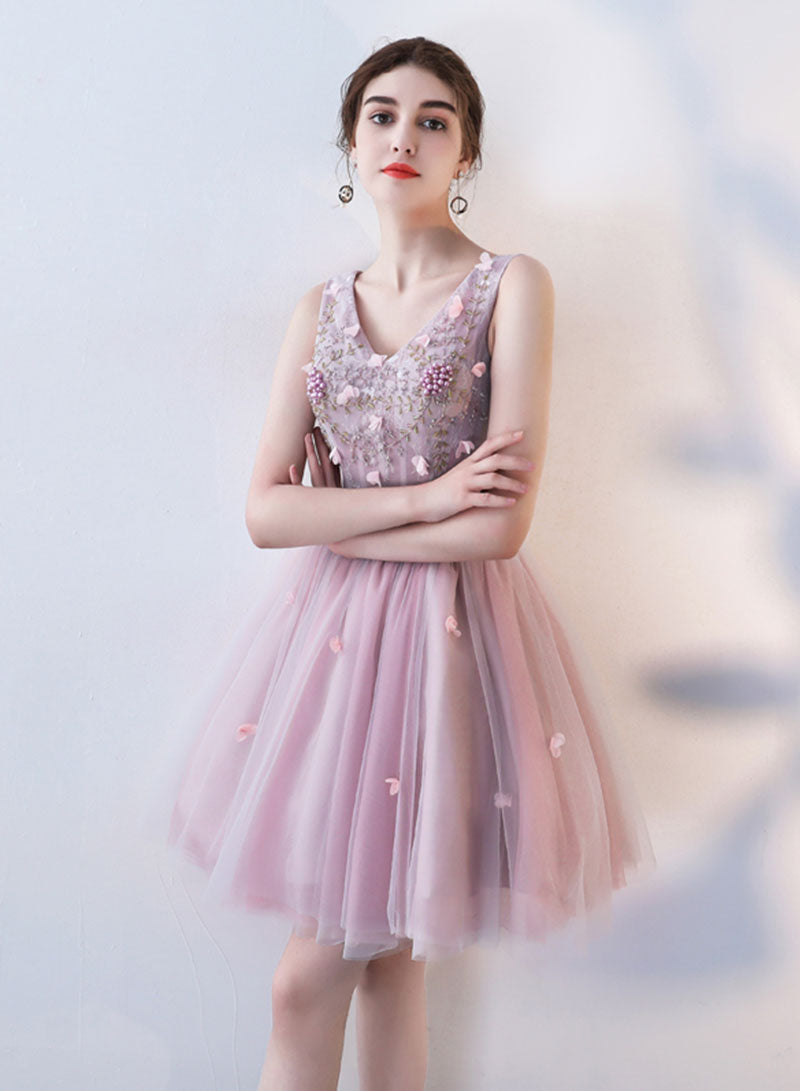 Pink v neck tulle applique short prom dress, hoco dress