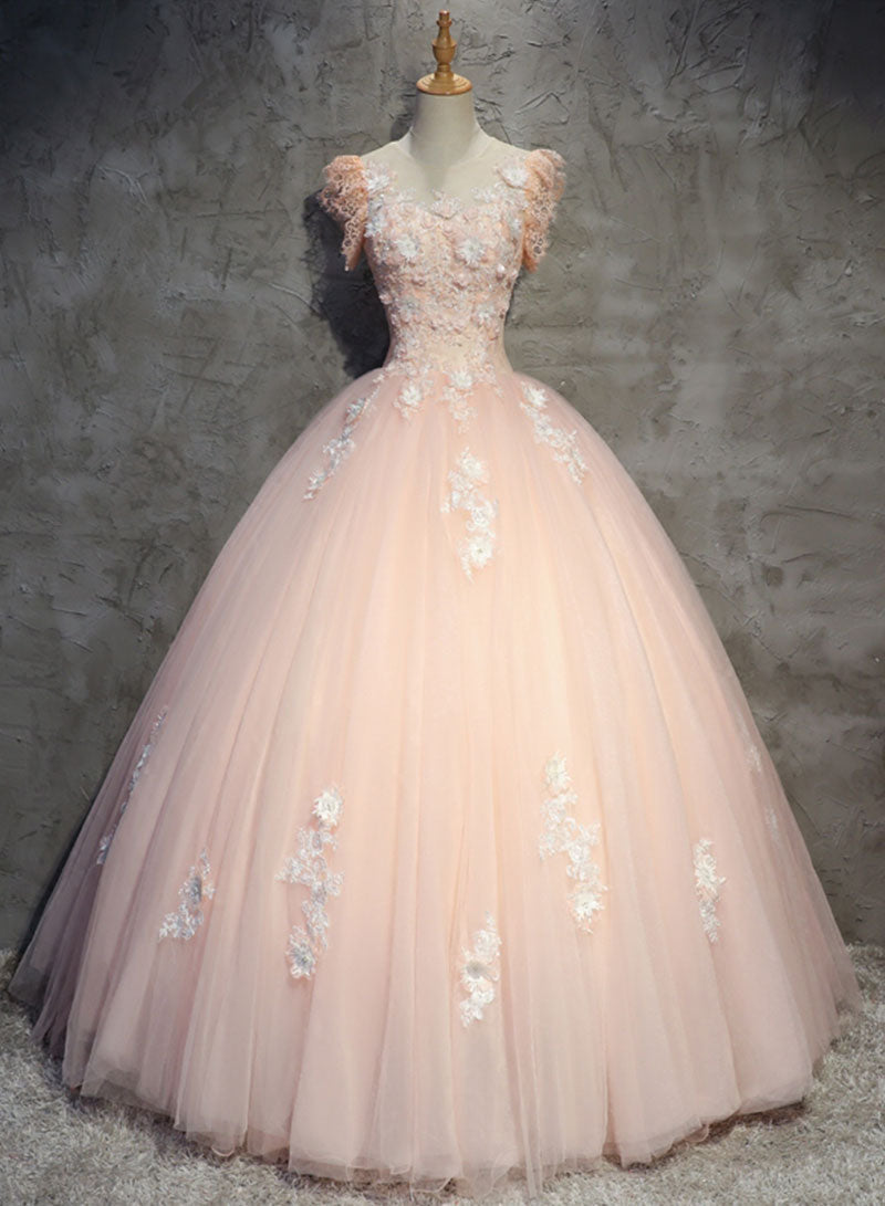 Pink tulle lace long prom gown, pink evening dress
