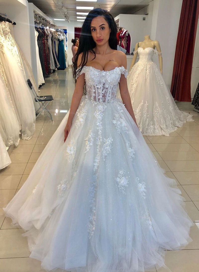White tulle appliqué long prom dress, formal dress