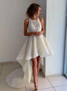 White lace high low prom dress, evening dress