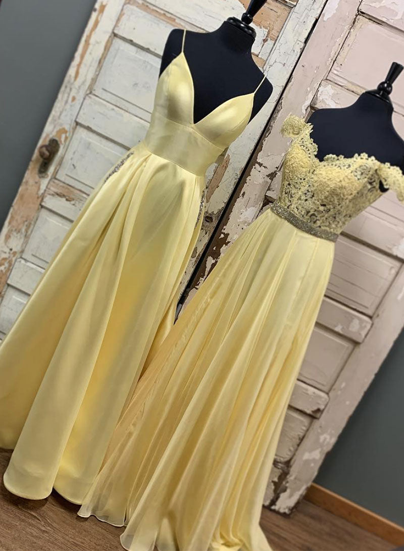 Yellow long prom dress, yellow evening dress