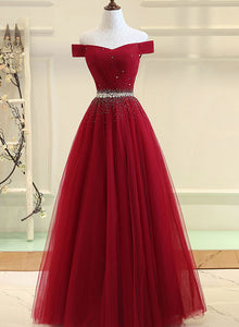 Burgundy off shoulder tulle prom dress, evening dress
