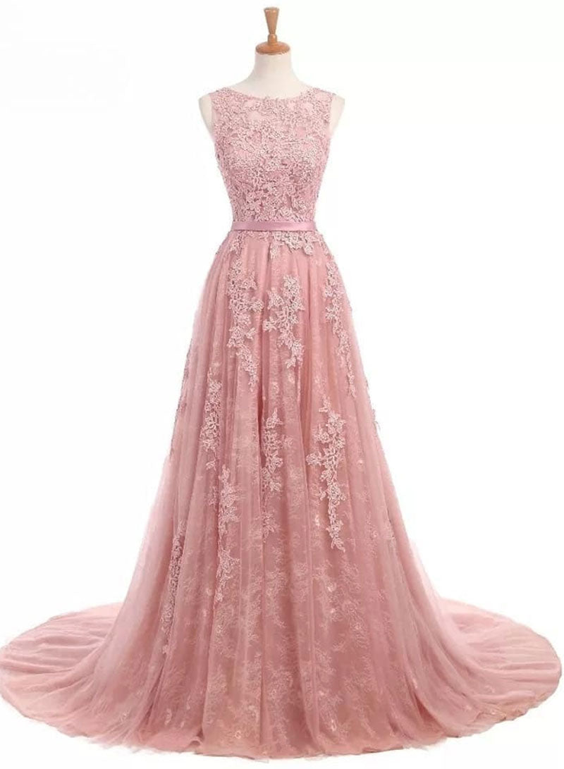 Pink round neck tulle lace long prom dress, pink evening dress