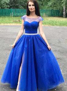 Blue round neck tulle long prom dress, evening dress