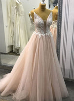 Cute v neck tulle lace long prom dress, evening dress