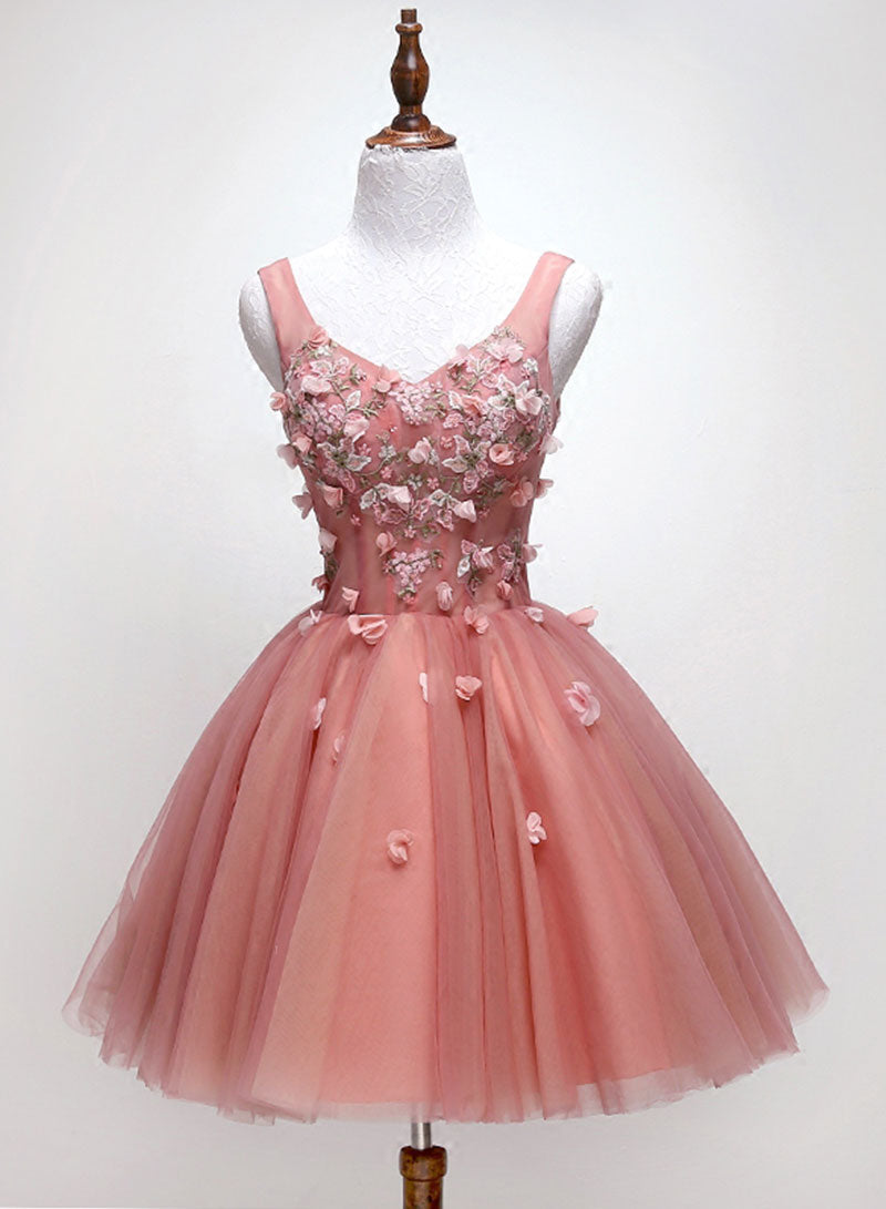 Pink v neck tulle lace short prom dress, cocktail dress