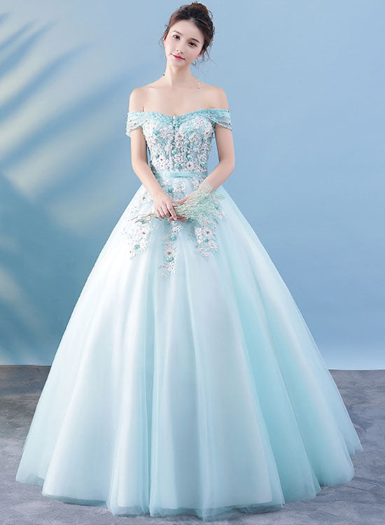 Light blue lace tulle long prom dress lace evening dress trendty light blue lace tulle long prom dress lace evening dress junglespirit Choice Image