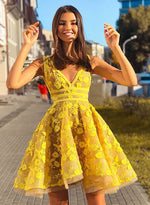 Yellow v neck lace short prom dress, yellow evening dress