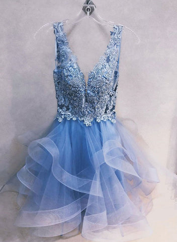 Cute blue v neck tulle lace short prom dress, homecoming dress