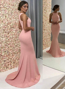 Simple pink satin long prom dress, mermaid evening dress