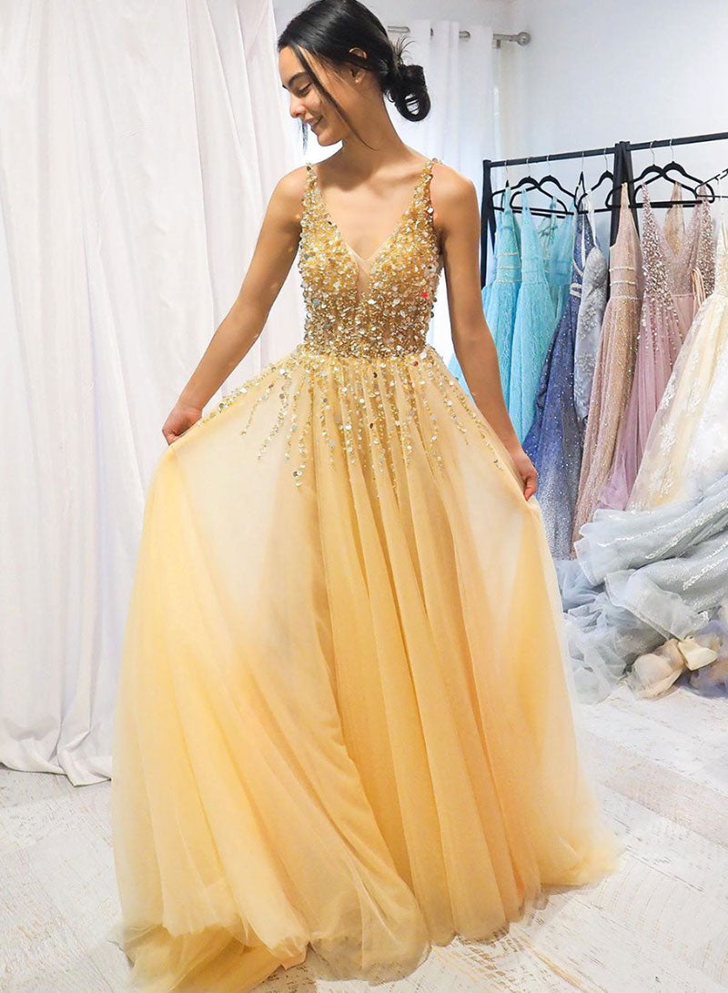 Gold v neck tulle beads long prom dress, evening dress