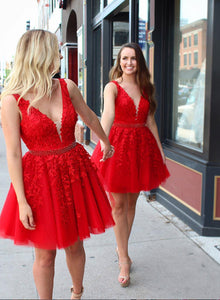 Cute red v neck lace tulle short prom dress, red homecoming dress