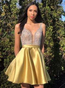 Yellow v neck satin short prom dress, homecoming dress