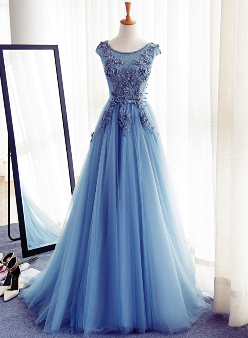 Blue tulle appliqué long prom dress, evening dress